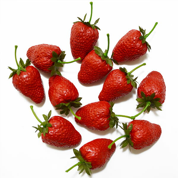 【食品サンプル】イチゴ・S・全長3.5cm・36個セット(1袋12個×3袋)(ストロベリー/いちご/苺)(フェイクフード/食品模型/オブジェ/ディスプレイ/アレンジ)
