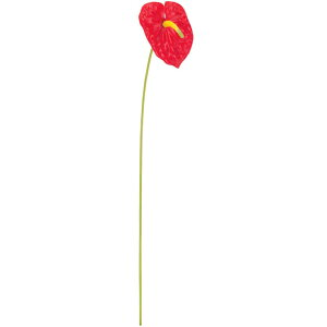 アンスリウム 造花 全長58cm 7本セット(アンスリューム アーティフィシャルフラワー 人工観葉植物 花材 アレンジメント)