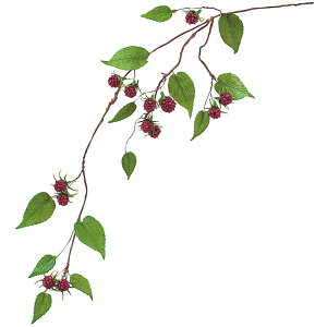 ラズベリー 全長62cm 3本セット(フェイクフルーツ 食品サンプル 造花 アーティフィシャルフラワー 木苺 装飾 ディスプレイ)