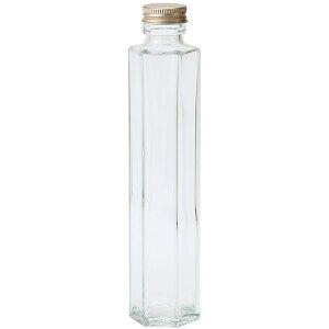 ガラス花器 細口ガラス瓶 六角型 ネジ栓付き 8本セット 全高21.35cm×幅4.88cm 硝子 アルミ フラワーベース 花器 花入れ アレンジ ハーバリウム