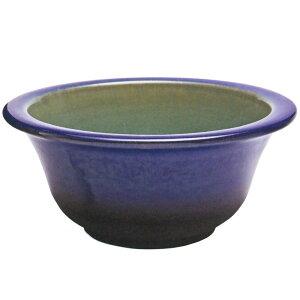 日本製 水鉢 青ガラス富士型 13号 全高17.5cm×幅38.5cm(信楽焼き しがらきやき 陶器製 睡蓮鉢 水蓮鉢 スイレン鉢 ハイドロカルチャー ビオトープ)