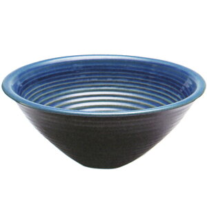 日本製 水鉢 ブルーガラスソリ型 9号 全高12cm×幅28cm(信楽焼き しがらきやき 陶器製 睡蓮鉢 水蓮鉢 スイレン鉢 ハイドロカルチャー ビオトープ)