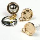 【ピアス・イヤリング】1ペア 幾何学的ポスト ミール皿丸 《きれいめゴールド》[土台,ラウンド,まる,丸,円形,メタリ…