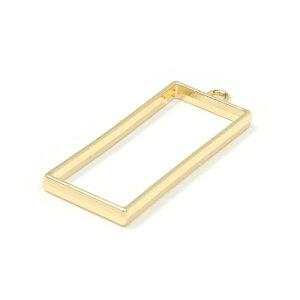 【空枠】シンプルロングスクエアフレーム《きれいめゴールド》[チャーム,長方形,四角,フレーム]