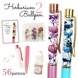 【手作りキット】ハーバリウムペン2 お好きなペンの色と素材が選べます♪ 作り方説明書付き[ボールペン ハーバリューム プリザーブド ドライフラワー]