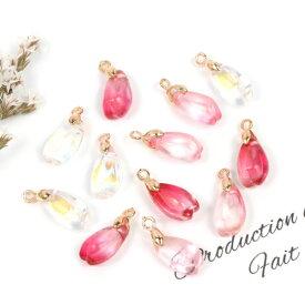 【チャーム】12個 桜の花びらトランスミッション ガラス製《3色MIX》[さくら サクラ 花 フラワー 春 手芸 和風 日本]