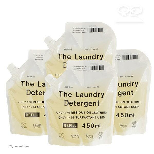 【4個セット】THE 洗濯洗剤 詰替用 450ml(e3/洗濯洗剤 衣類用洗剤 エコ洗剤 部屋干し 節水 節電 時短 すすぎ1回 がんこ本舗/4547639511188)