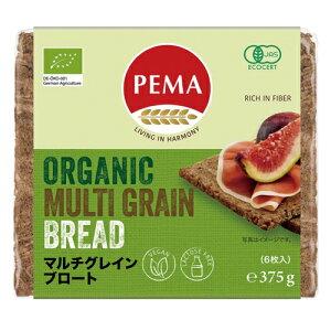 PEMA 有機全粒ライ麦パン(マルチグレインブロート) 375g(6枚)外包装-緑 ow jn
