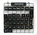 おしゃれ★PRIMITIVE CALENDAR S(黒)ワイヤー木製プレートカレンダー(TW710S BK) カントリー雑貨/万年カレンダー/アイ…