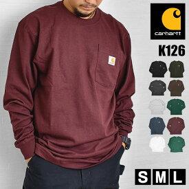 Tシャツ 長袖 carhartt カーハート ロンT ポケット メンズ レディース 黒 ブラック グレー ヘザーグレー 白 ホワイト オリジナルフィット アメカジクルーネック ポケ付きロンT タグ コットン ロングスリーブ ロング K126 リブ 大きいサイズ かっこいい おしゃれ