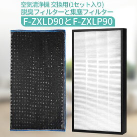 F-ZXLP90 集じんフィルター f-zxlp90 脱臭フィルター F-ZXLD90 パナソニック加湿空気清浄機用 集塵・脱臭フィルターセット「互換品/2枚セット」