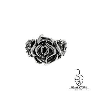 【珍しい】 花の指輪 大きさ大小選べるペアでも使える 珍しい花の指輪 メンズ レディース サイズが豊富なのでプレゼントにもピッタリのシルバーリング バラが個性的