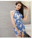 チャイナドレス 背中が可愛いデザイン ミニドレス 可愛い ドレス チャイナ セクシー 白 ホワイト 青 ブルー 花柄 ミニ…