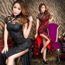 チャイナドレス ロング丈 ロングドレス セクシー 可愛い ドレス チャイナ アオザイ 半袖 透け透け 黒 ブラック 赤 レ…