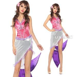 紫 人魚姫 ロング丈ドレス コスプレ ハロウィン衣装 4862/1 コスプレ ハロウィン 衣装 大人用 服 コスチューム 仮装 セット かわいい 可愛い カワイイ パーティー パーティーグッズ イベント