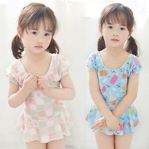 子供水着 キッズ 女の子 選べる3色 ワンピース帽子 ビーチ 練習用 2点セット(T)