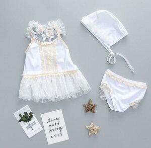 水着 3点セット 子供服 レース 可愛い キッズ 女の子 ビーチ用品(T)