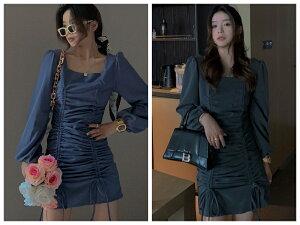 ワンピース レディースファッション 韓国ファッション 体型カバー 細見せ スリム効果 ぴったり スクエアネック パフスリーブ(T)