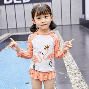 子供服 水着 ガールズ 女の子 長袖 パンツ 2点セット 韓国子供服 キッズ 可愛い(T)