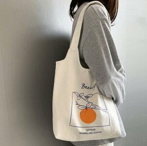 トートバッグ 果物 かわいい 帆布 ショルダーバッグ 韓国ファッション (T)