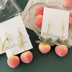 ピアス アクセサリー 果物 フルーツ 桃 パール かわいい リボン (T)