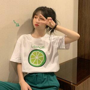 トップス Tシャツ レーディス 果物 レモン コットン 韓国ファッション (T)