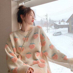トップス セーター イチゴ 桃 果物 かわいい レディースファッション (T)