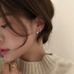 ピアス アクセサリー パール 韓国ファッション 個性 レディース シルバー (T)