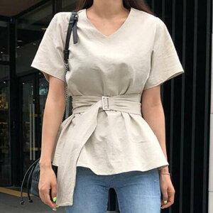 シャツ ブラウス 半袖 無地 Vネック 韓国ファッション レディースファッション(T)