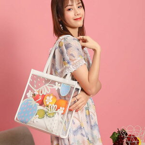 バッグ トートバッグ 透明 クリア 果物 可愛 イチゴ レディースファッション(T)