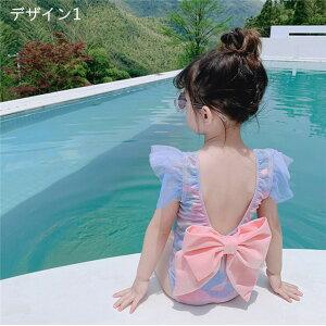 子供 水着 ガールズ 女の子 ワンピース式 子供水着 キッズ水着 ガールズ 女の子水着 2点セット ビーチ 海水浴(T)