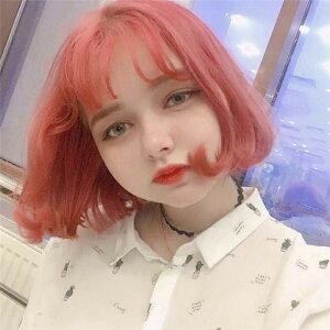 ウィッグ女性ショートヘアオレンジレッドふわふわ丸い顔カール(T)