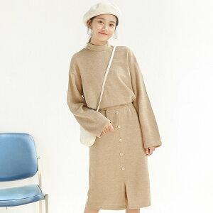 韓国レディースファッションサイトNO1 ニット トップ単体ボタン スカート ツーピース 2点セット(T)