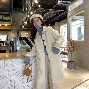 韓国商品単体ボタン厚手子羊の毛ロングセクションコート(T)