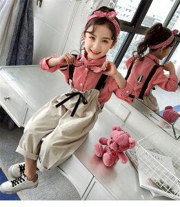 子供服 韓国子供服女の子2点セットトップスサスペンダーのズボンセット(T)
