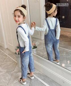 韓国子供服 流行のキッズ服 デニム 女の子ファッション サスペンダーのズボン(T)