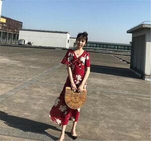 リゾート 韓国ファッション レトロひざ丈可愛い系プリントワンピース(T)