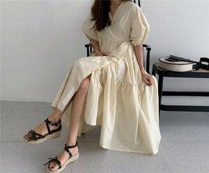 女性らしさ満点のスタイルを レトロ ポップ ゆったり Vネック ロングスカート(T)