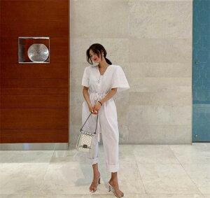 品質 ソリッドカラー コットン Vネック 巾着 ウエスト スリム ジャンプスーツ(T)