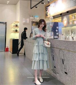 品質 減齢人形の襟 スリムフィット シフォン ケーキスカート ワンピース(T)