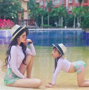 のマストバイアイテム 韓国 水着 ハイウエスト 母と娘 子供 日焼け防止 ショート丈 セクシー(T)