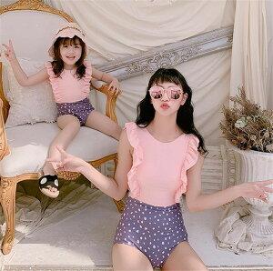 韓国 デザイン お出かけ 母と娘 水着 フリル 縫付 子供 水着 小さい鮮な(T)
