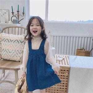 今年売れてます の女の子 サスペンダースカートTシャツ 子供 レース デニム 2点セット(T)