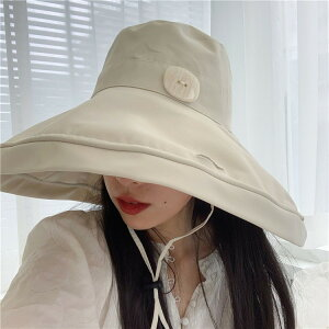AW 特大のつば 太陽の帽子 日焼け防止 漁師の帽子 UV保護 ボタン フェイスカバー(T)