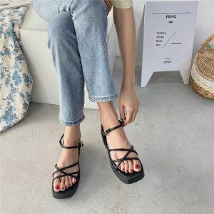季韓国ファッション ローマの靴 プラット サンダル マフィン 厚いヒール(T)