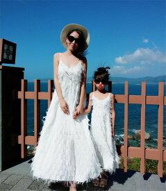 のあるデザイン マザーズドレス ビーチドレス お出かけ 背透け感フェザー ワンピース(T)