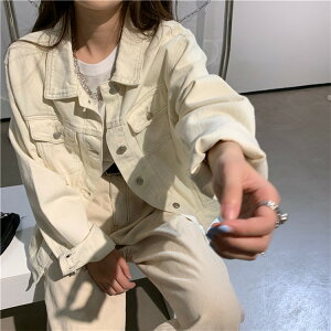 着回し抜群 韓国ファッション 単体ボタン デニム コート ショート丈(T)