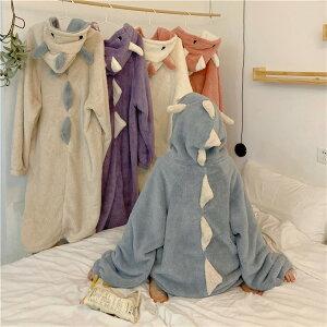 c 可愛いワンピース 長袖 暖かい 裏起毛 パジャマ フード付き 快適 ルームウェア(T)