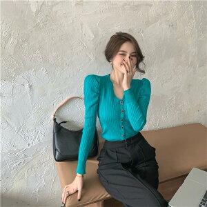 韓国ファッション ニット セーター Vネック パフスリーブ カーディガン(T)