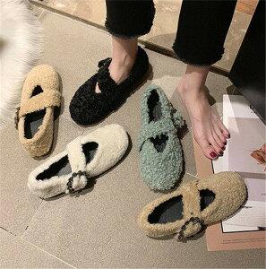 履きやすくて可愛い 毛皮のような靴 アウター着るラムカールローファー 綿の靴 怠惰なワンペダル 豆の靴(T)